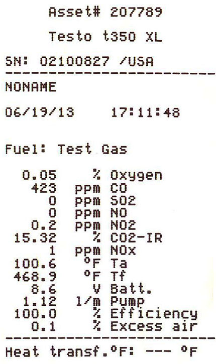 Results of the before and after 5-gas analyzer emissions test shows before and after results.